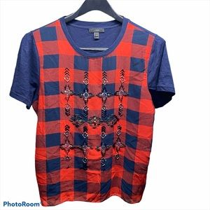 J. Crew top Size Medium Red/Blue Women's Pre Owned